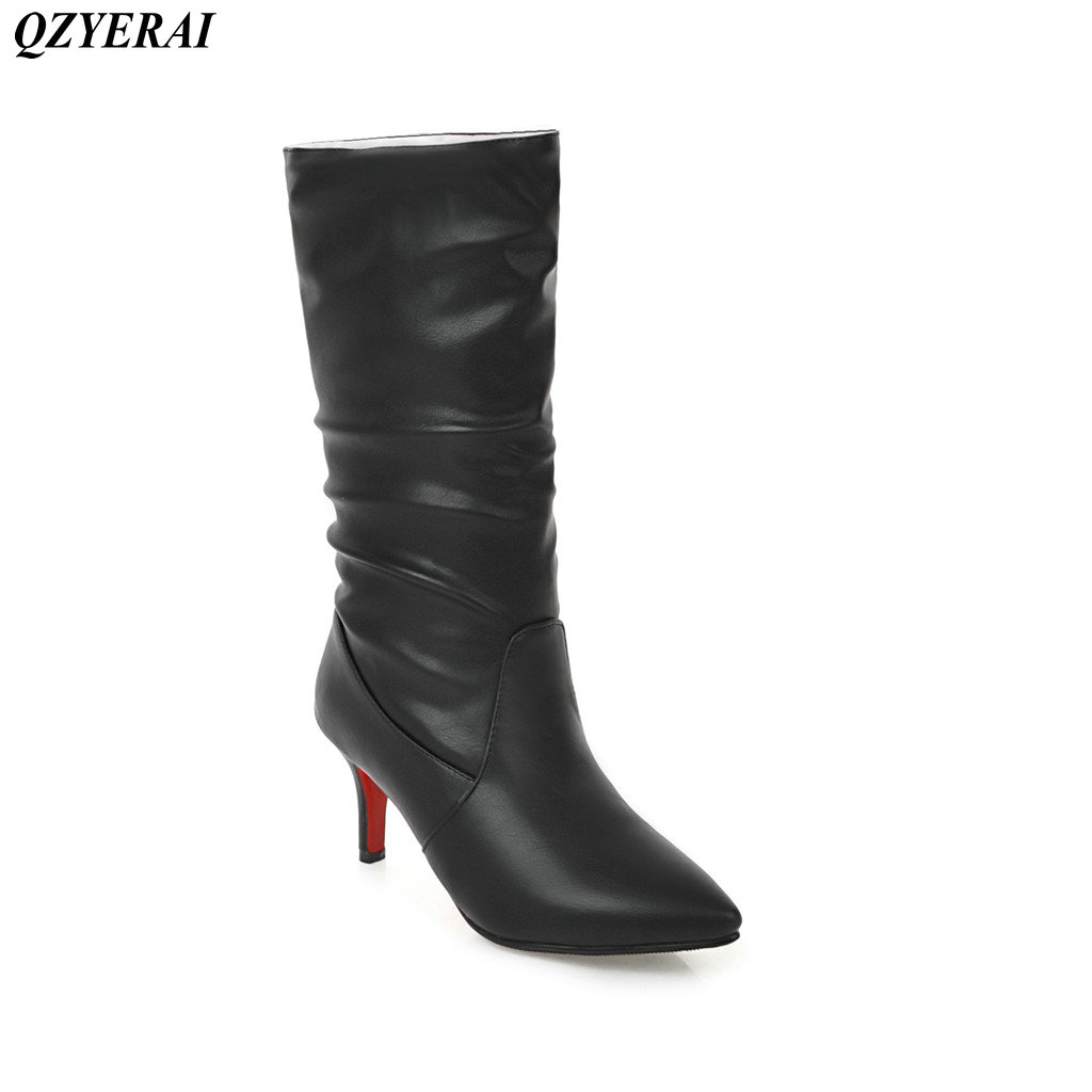 QZYERAI Winter super warm stiletto lady boots can be folded into short boots sexy womens shoes young womens boots