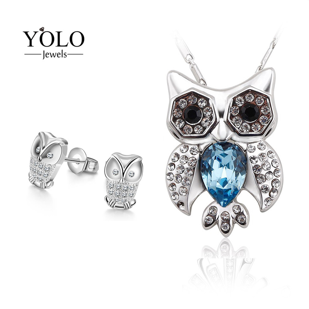 YOLO Jewels Owl Shape Jewelry Set for Women Silver Color Personalized Necklace Blue Color Stud Earrings with Animal Statement leaf shape alloy statement stud drop earrings