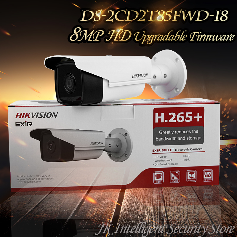 Hikvision New English Version IP housing DS-2CD2T85FWD-I8 8MP Network Bullet Camera POE SD card 80m IR H265