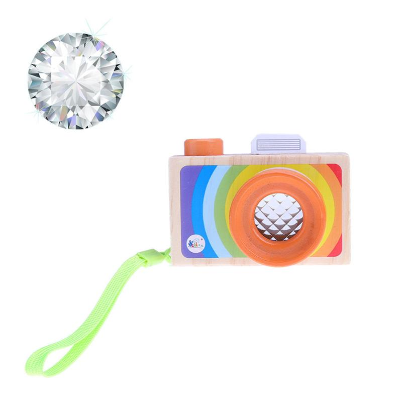 Baby Funny Wooden Toy Cartoon Cameras Kaleidoscope Kids Play Phantoscope Picture Lens Children Educational Toys Gift