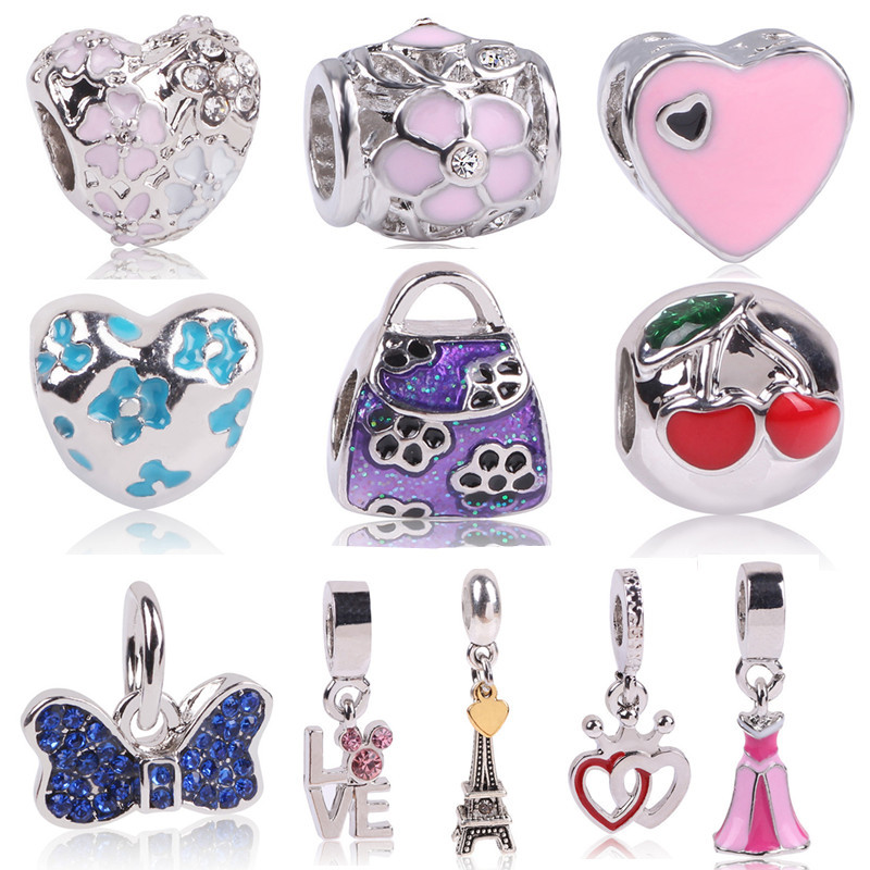 Ranqin 1pc Large Hole Silver Color Beads Lovely Flower Mouse Heart Charms Fits European Pandora Charm Bracelet Jewelry Gift
