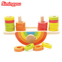 Simingyou Wooden Puzzle Rainbow Balance Toy Children Training Balancing Montessori Educational Toys A50 59 3 Drop
