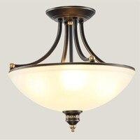 Простой европейский стиль кантри потолочные светильники Американский Ретро плафонный свет ресторан кабинет железа античное стекло полу п