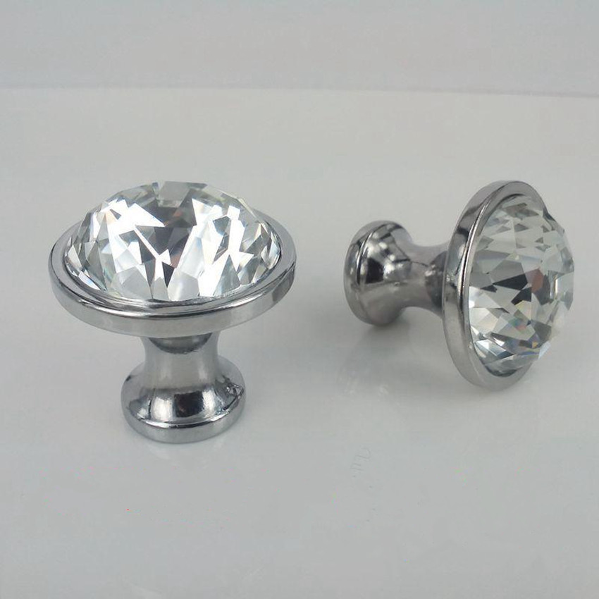 glass crystal dresser door handles knobs rhinestone chrome silver drawer cabinet knobs pulls 25mm 30mm modern fashion glass knob rhinestone crystal kitchen cabinet door knobs handle drawer handles dresser pulls shabby chic glass knobs silver white clear