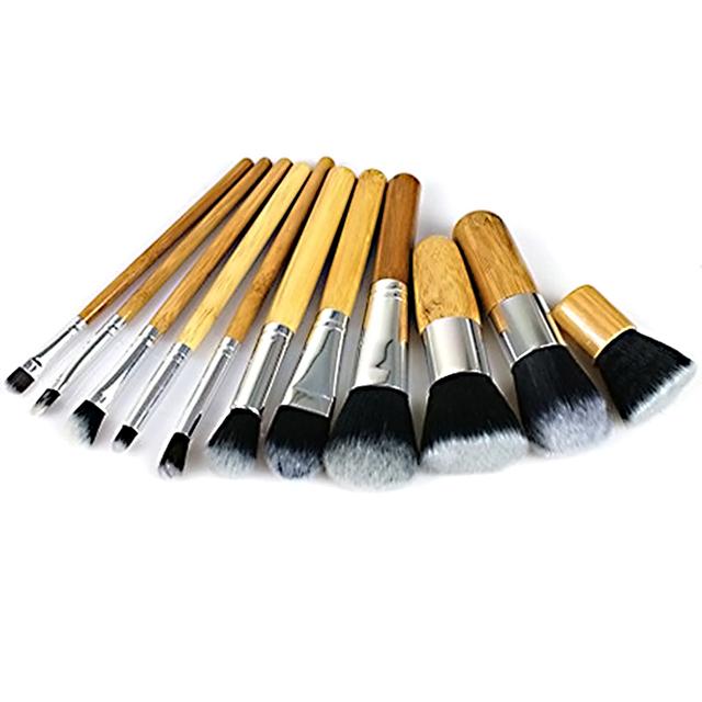 Profesional 11 Unids De Bambú Mango Maquillaje Cepillos Cosméticos Fundación Brush Set Herramientas Kit de baño de la Mujer