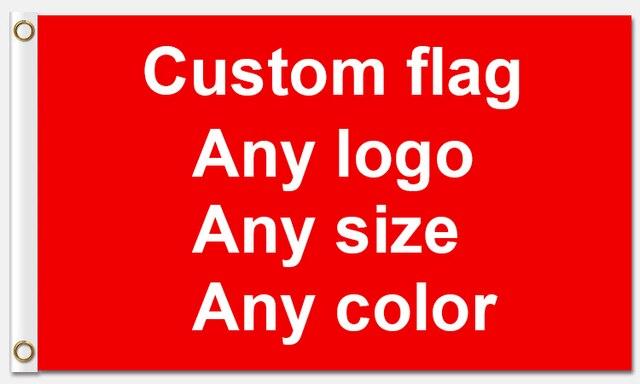Custom bandiera 90*150 CM qualsiasi colore qualsiasi logo come vostra richiesta Con Il Bianco Manica Occhielli In Metallo 1