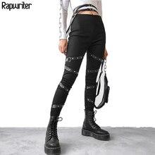 Rapwriter Streetwear Punk Pencil Pants Black Women Elastic High Waist Trousers P