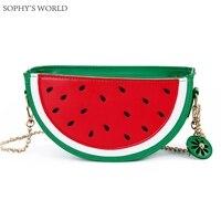Lovely Style Leather Women's Handbag Fruit Women Shoulder Bags Watermelon Orange Bag PU Small Messenger Bags Chain Purse