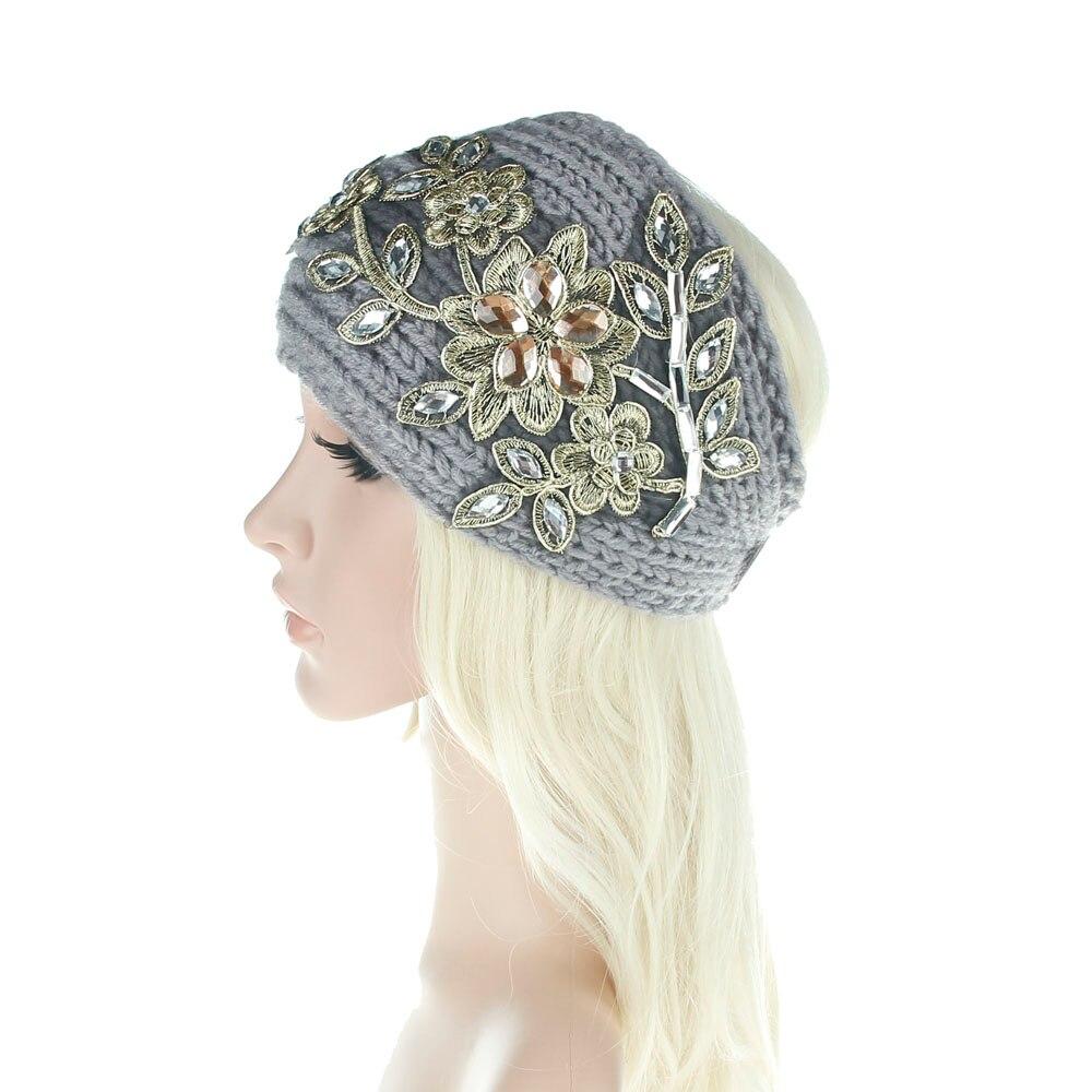 Mujeres amplia tejer lana diadema invierno del oído caliente crochet ...