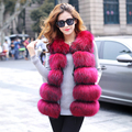 2016 fashion Lady Raccoon Fur vest women's real fur and leather winter overcoat girl's warm outerwear Fur Vest coat