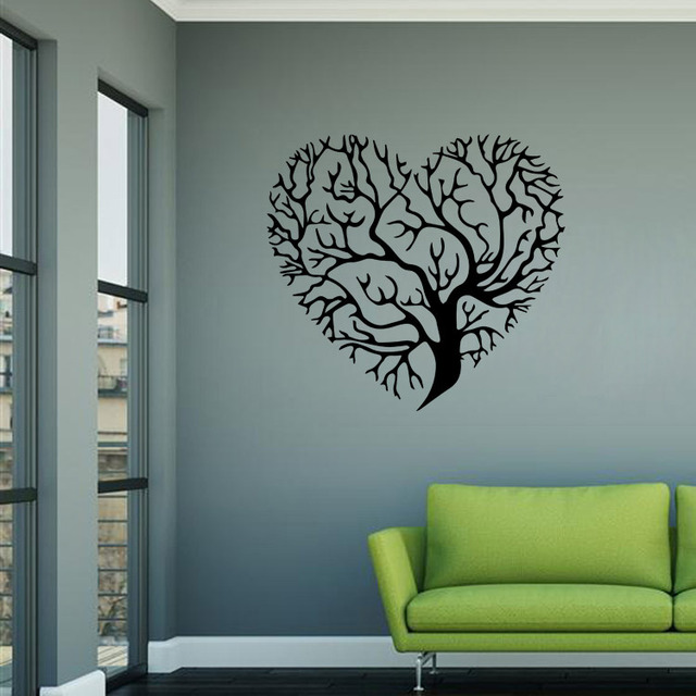 black heart tree pattern wall sticker poster for home decorations