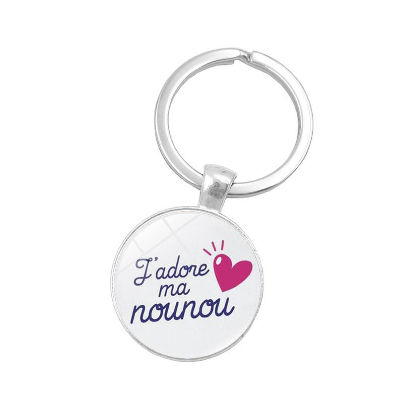 New Brand Glass Cabochon Keychain Jewelry with Silver Color Merci Maitresse Car Keychain Ring for Men Women Gift