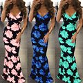 2017 Summer Women Party Dresses Sexy Floral Print Spaghetti Strap Backless Trumpet Maxi Long Dress Ladies Zipper Club Vestidos