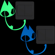 цены Lovely Cartoon Big Eyes Cat Luminous Switch Sticker Kids Room DIY Decoration Glow in the Dark Wall Stickers Animal Decor Decals