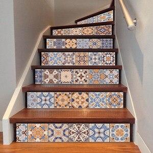 Image 3 - 6ピースクラシックデザインタイル階段ライザーステッカーセット階段デカール取り外し可能な防水壁画ホームデコレーション
