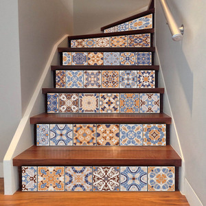Image 3 - 6pcs Classic Design Tile Stair Risers Stickers Set Staircase Decals Removable Waterproof Mural Wallpaper for Home Decoration