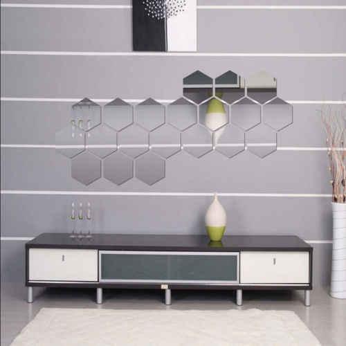 WANGSCANIS 3D зеркальный шестигранный акриловый съемный стикер на стену Наклейка домашний декор новый