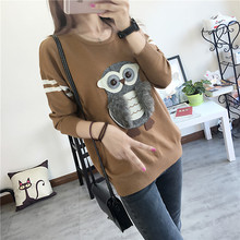 Women Owl Patch Design Sweater O-Neck Long Sleeve Knitted Pullover Stretch Casual Autumn Winter Knitted Tops