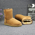 Natural Fur Snow Boots Women Winter Genuine Leather Mid Calf Boots Warm Australia Botas Nieve Sheepskin Classic Fashion Fur Boot