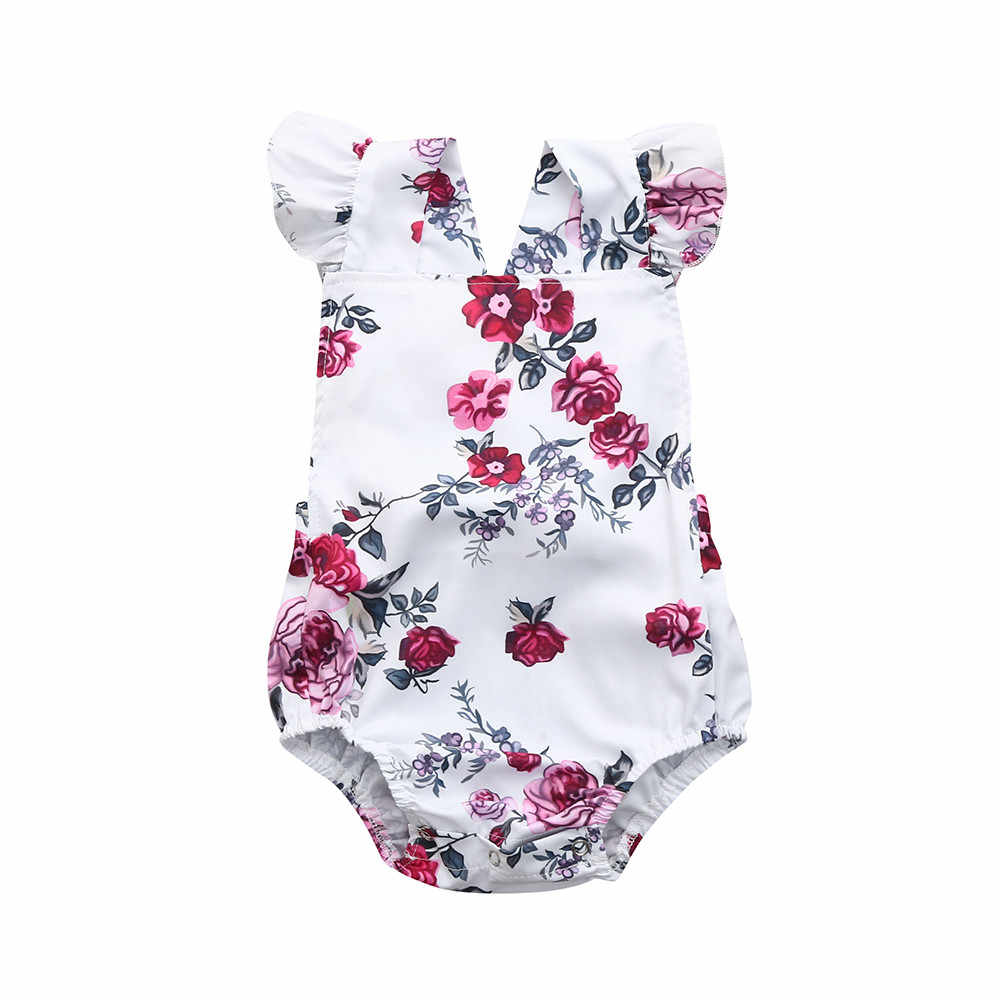 เด็กผู้หญิงชุดเสื้อผ้า 2018 ฤดูร้อนทารกแรกเกิดทารกเด็กทารกเด็กชาย Romper Floral พิมพ์ Ruffle Jumpsuit ชุด dropshipping
