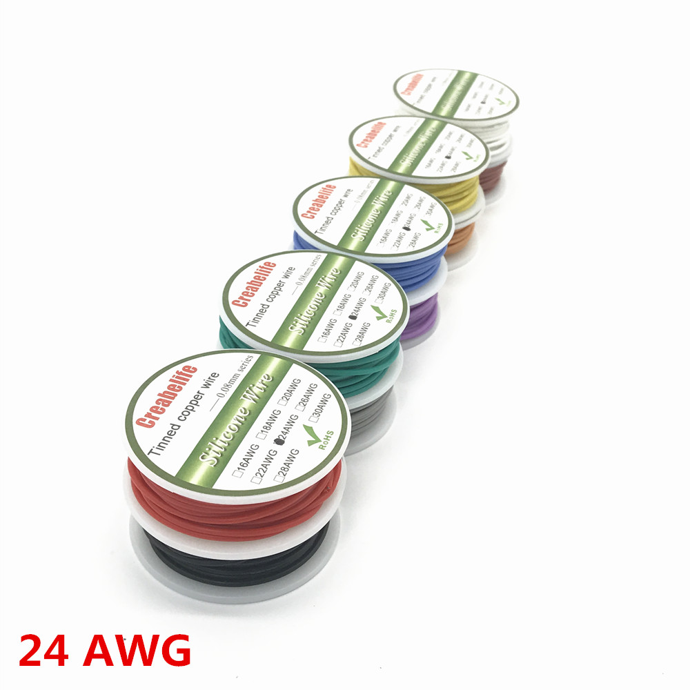 6m 24 AWG Flexible Silicone Wire RC Cable 24AWG Outer Diameter 1.6mm Line With 10 Colors to Select With Spool 87style 1meter red 1meter black color silicon wire 10awg 12awg 14awg 16 awg flexible silicone wire for rc lipo battery connect cable