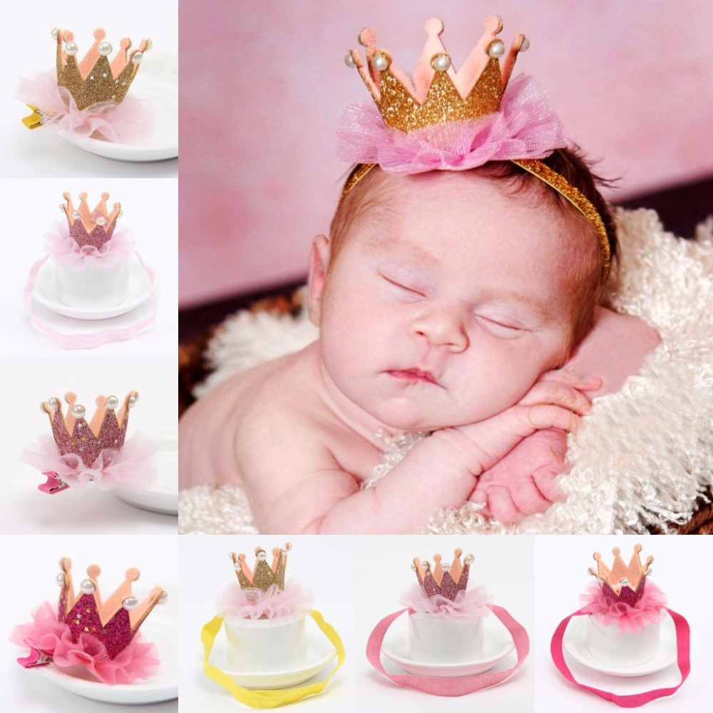 Girl's Head Tilbehør Hairband Baby Shiny Cute Princess Children Tiara Hair Band Headband Kids Elastic Crown Headwear