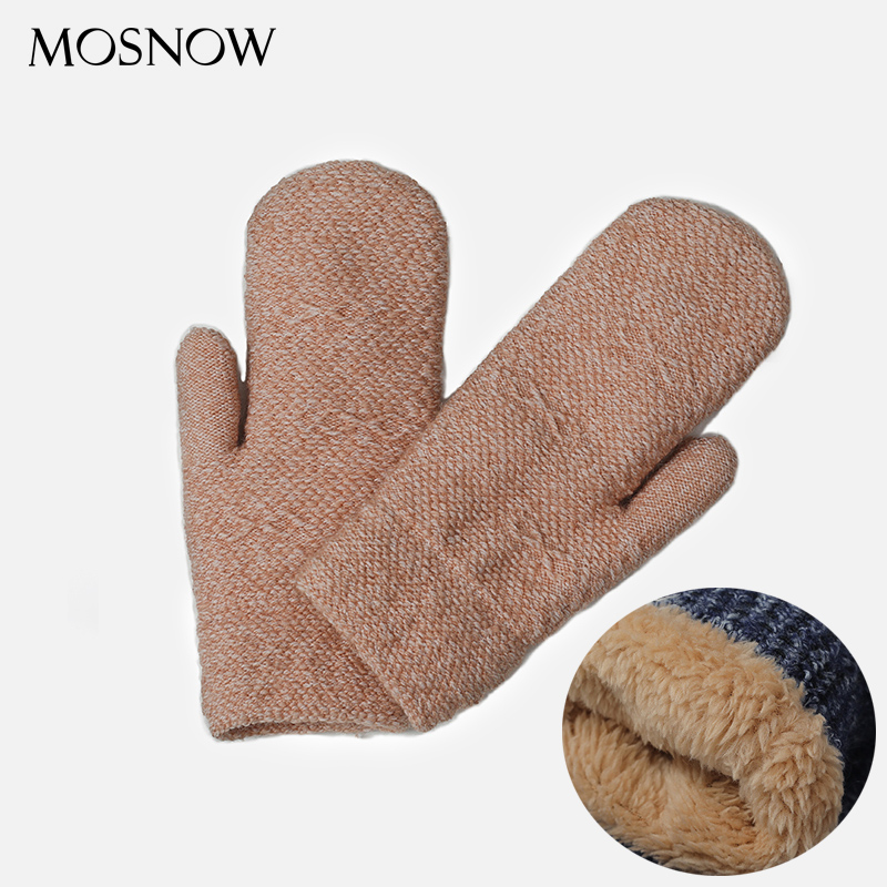 Winter Female Knit Wool Fingerless Glove Lining Add Velvet Thicken Warm Gloves Women Solid Mittens Guantes Ladies Cute Gloves