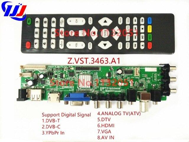 Z.VST.3663.A1 Support DVB-C DVB-T DVB-T2 instead of T.RT2957V07 Universal LCD TV Controller Driver Board with remote dvb t2 dvb tv receiver w remote controller black