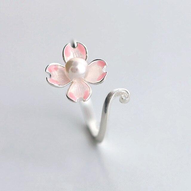 Delicate pink cherry blossom adjustable sakura rings imitation pearl delicate pink cherry blossom adjustable sakura rings imitation pearl silver plated flower ring for women wedding mightylinksfo