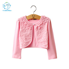 2016 spring summer new lolita style children cardigan cotton lace kids clothes sunblock outerwear to Collocation dress freeship