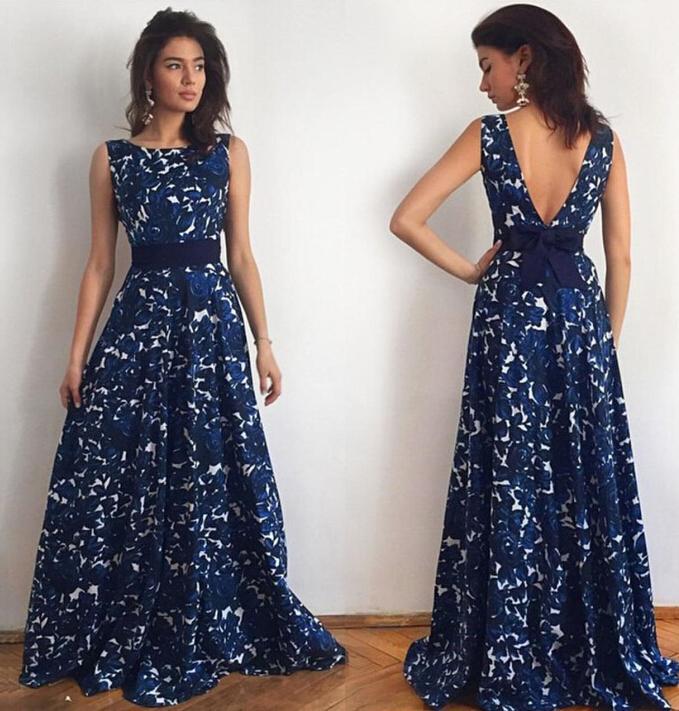 2016 New Women Fashion Autumn Backless Bow sexy Print sleeveless Dress MswQ02945