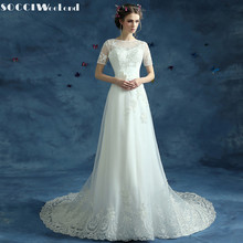 SOCCI Weekend 2017 Vintage Short Sleeves Wedding Dresses boda Vestido de Noiva Formal Beach Marriage Party Dress Casamento Gowns