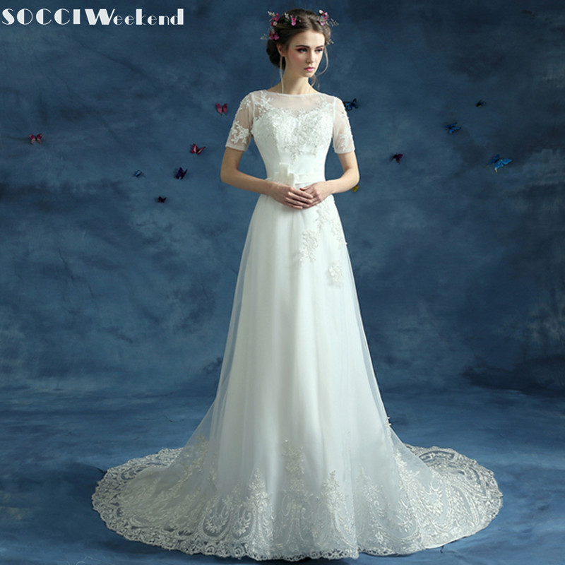 SOCCI Weekend 2018 Vintage Short Sleeves Wedding Dresses boda Vestido de Noiva Formal Beach Marriage Party Dress Casamento Gowns