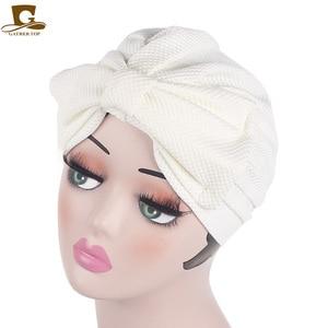 Image 5 - Nuovo di modo Musulmano India di Lusso Delle Donne Grande Fiocco del Cappello Turbante Cofano Chemio Hijab Beanie Cap Signore Turbante accessori per capelli