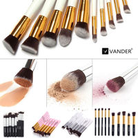 Vander (10 pieces/set) Professional Synthetic Hair Makeup Brushes Sets Foundation Make Up Brush Cosmetics Eyeshadow Powder Tools