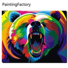 Злой медведь Краски по количеству Наборы-Раскраска по номерам на холсте декоративные панно настенные панно для Гостиная абстрактные картины
