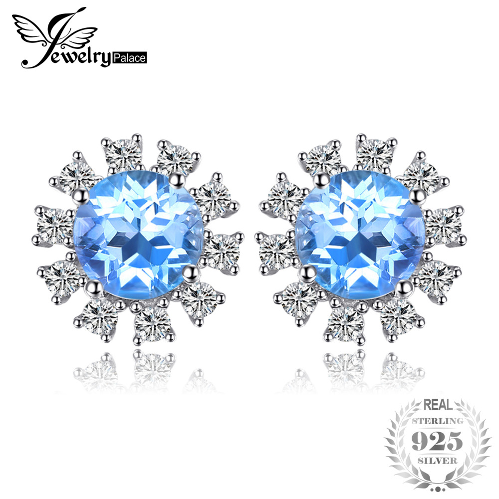JewelryPalace Halo 2.6ct Swiss Blue Topaz Stud Earrings 925 Sterling Silver Fine Jewelry New Earrings For Women Party Gift jewelrypalace halo 2 6ct swiss blue topaz stud earrings 925 sterling silver fine jewelry new earrings for women party gift