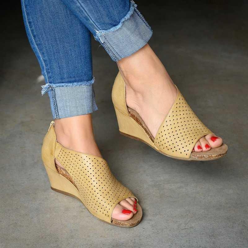 Femmes sandales torridité chaussures décontracté Rome Peep Toe Med talons chaussures à talons sandales Zomerschoenen Dames