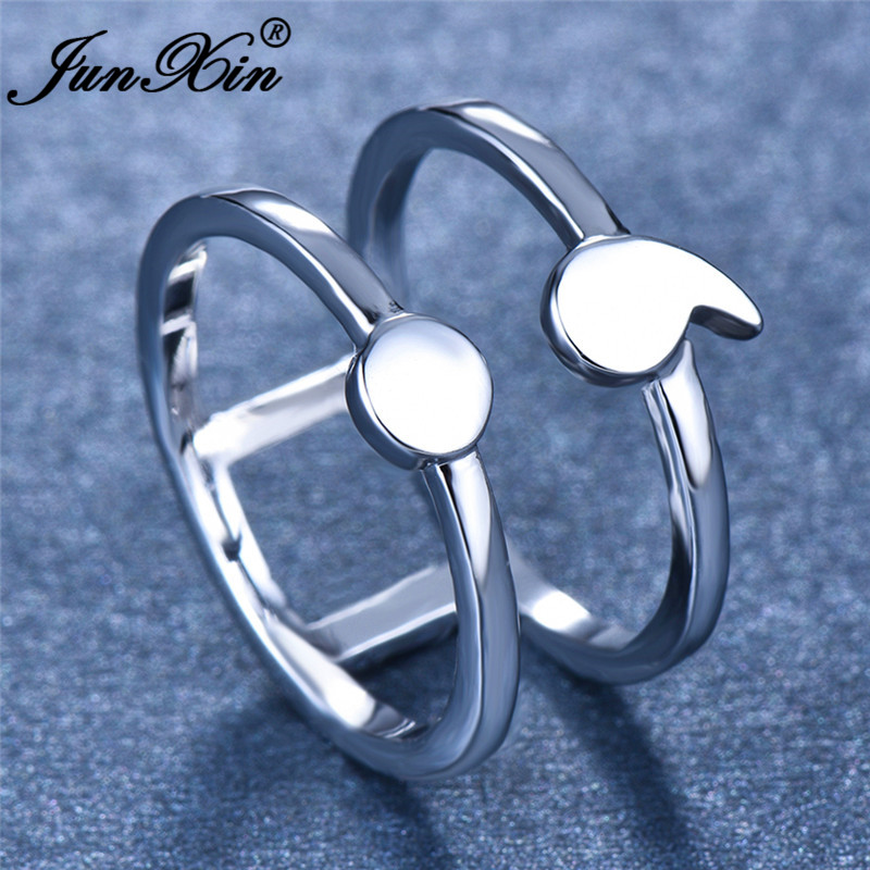 Minimalist Female Male Geometric Semicolon Ring Silver Color Double Layers Wedding Rings For Women Men Party Hollow Jewelry