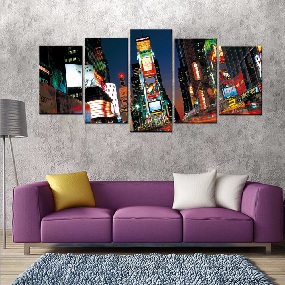 Contemporary artwork for the home - The Urban Scenery Wall Prints 5 Panel Modern City Landscape Pictures To Photo Painting On Canvas Contemporary Artwork No Framed