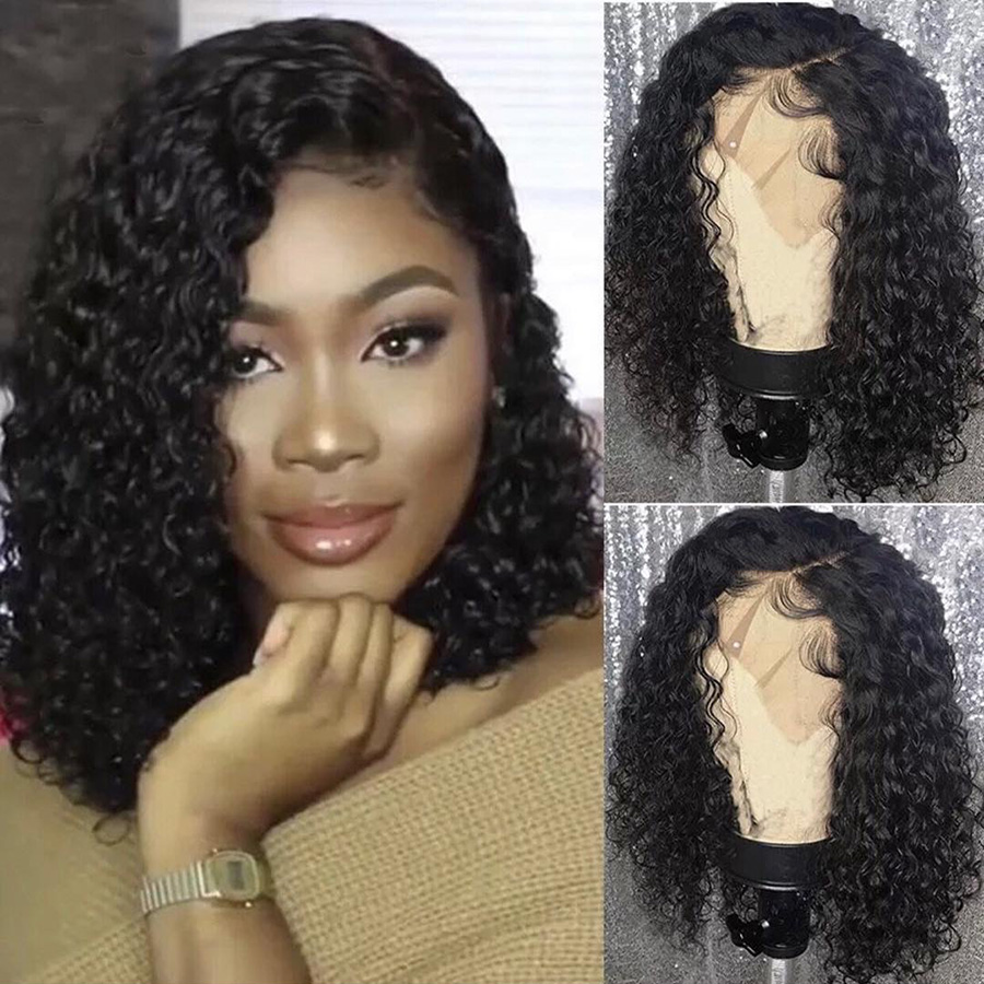 13*6 Deep Part Lace Front Human Hair Wigs With Baby Hair Brazilian Remy Short Curly Lace Front Bob Wigs Pre Plucked Roselover