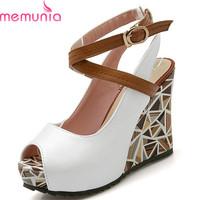 Hot Sale 2016 Wedges High Heels Women Sandals Platform Slingback Casual Shoes Woman Summer Peep Toe