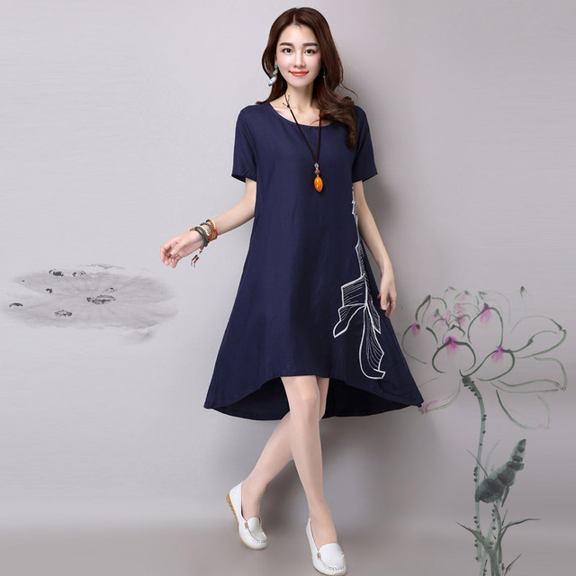 85bc5bcc70 Maternity Gown Clothes Summer New Korean Embroidery Women Pregnancy Cotton  Linen Irregular Plus Size Dress Hamile Giyim YFQ068