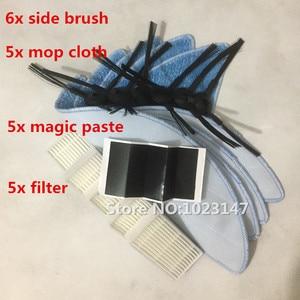 Image 2 - 6*Side Brush+5*HEPA Filter+5*Mop Cloth+5*Magic paste for IBoto Aqua X310 Robot Vacuum Cleaner Parts