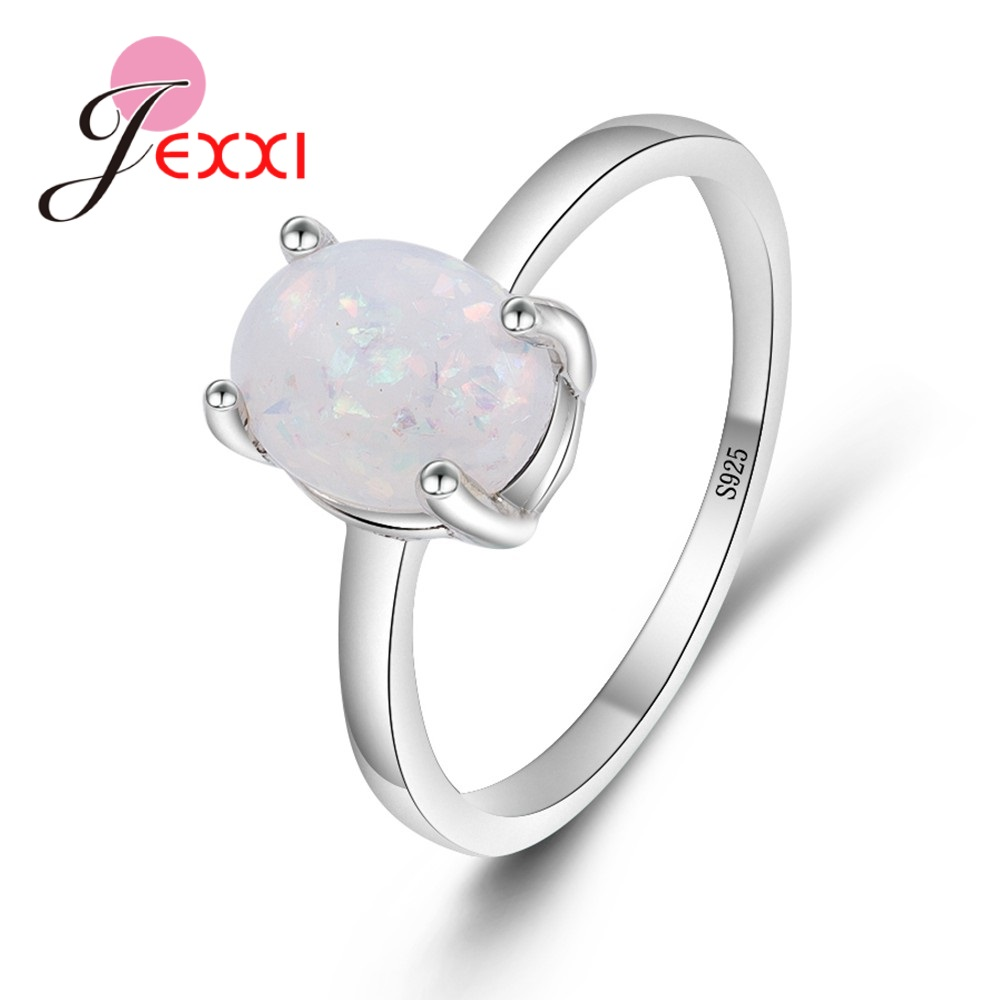JEXXI Wholesale Simple 925 Sterling Silver Wedding Engagement Promise Rings Paved White Fire Opal Rings Women Accessory Top Sell ...