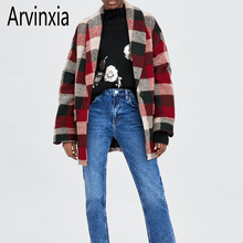 fb1e259328fe Arvinxia ZA Plaid Turn Down Collar Blends Coats Sexy Pockets Decorated  A-Line Women
