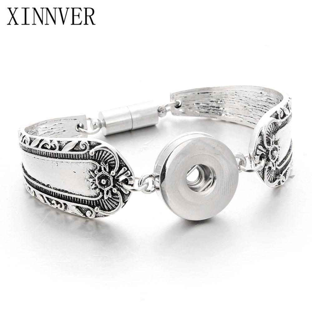 Snap Jewelry 18mm Xinnver Snap Button Flowers Carved Bracelet For Women Vintage Magnetic Bracelets Men's Arm Cuff Bangle ZE039
