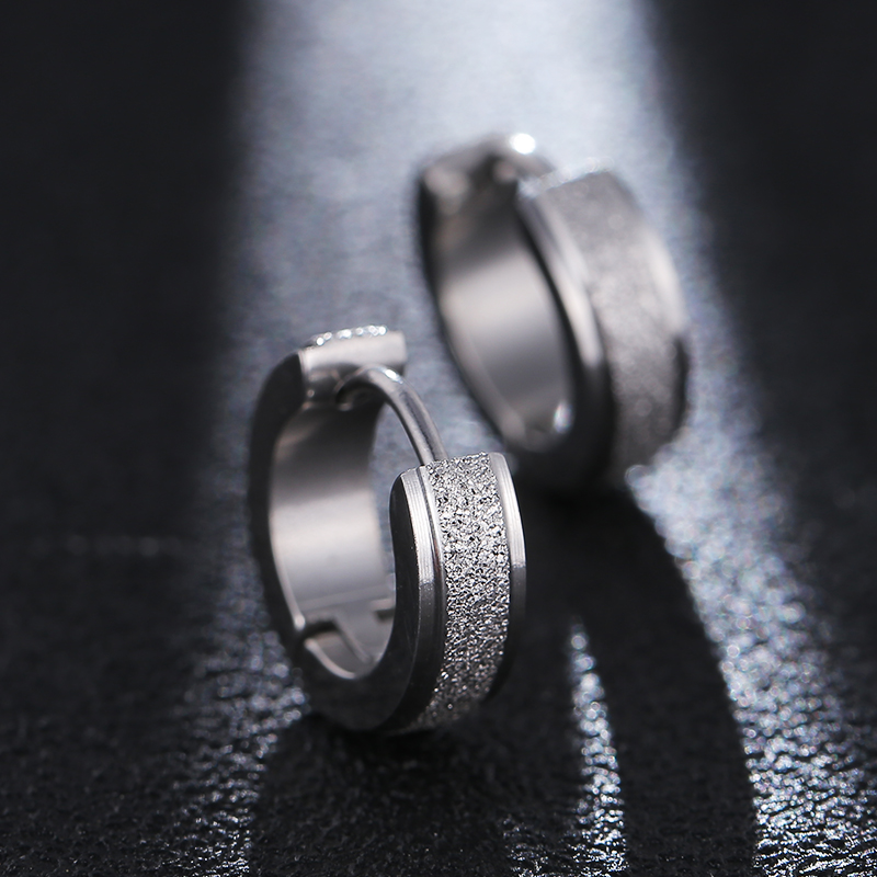 4Style Female Earrings New Fashion Cool Gold Silver Black Frosted Stainless Steel Round Stud Earrings For Women Men Jewelry 2019 in Stud Earrings from Jewelry Accessories