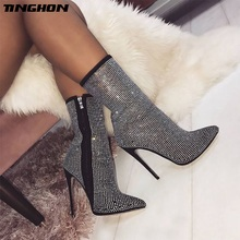 TINGHON Plus Size 35-42 Fashion Women Ankle Boots Rhinestones High Heels Shoes Woman Zip Pointed Toe Sexy Motorcycle Boots все цены