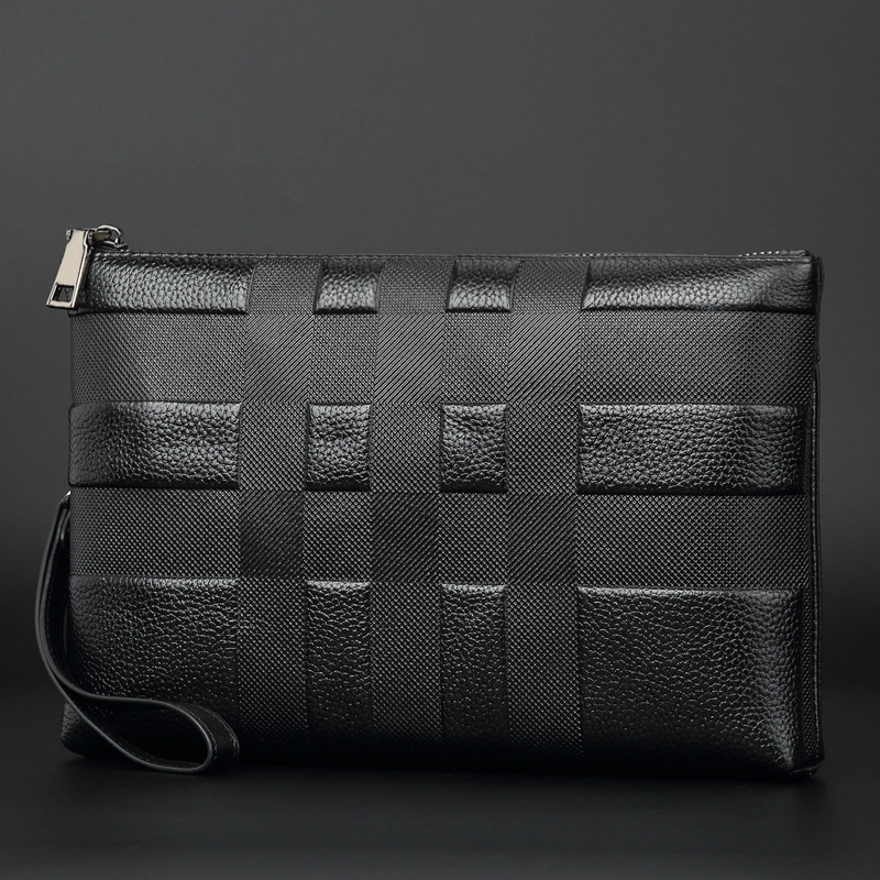 Men Business Fashion Brand Plaid Quality Genuine Leather Wallet Large Capacity Soft Handbag Cowhide Wallet Clutch Bag Women Bag 2017 luxury brand men clutch cowhide wallet genuine leather hand bag classic multifunction mens high capacity clutch bags purses